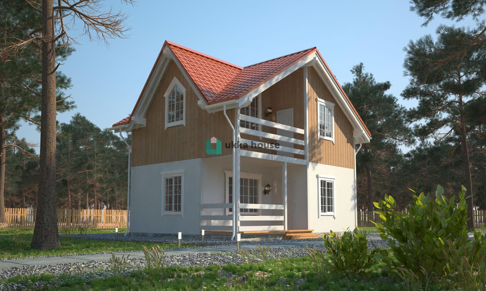 Проект «Двухэтажный дачный дом с террасой»