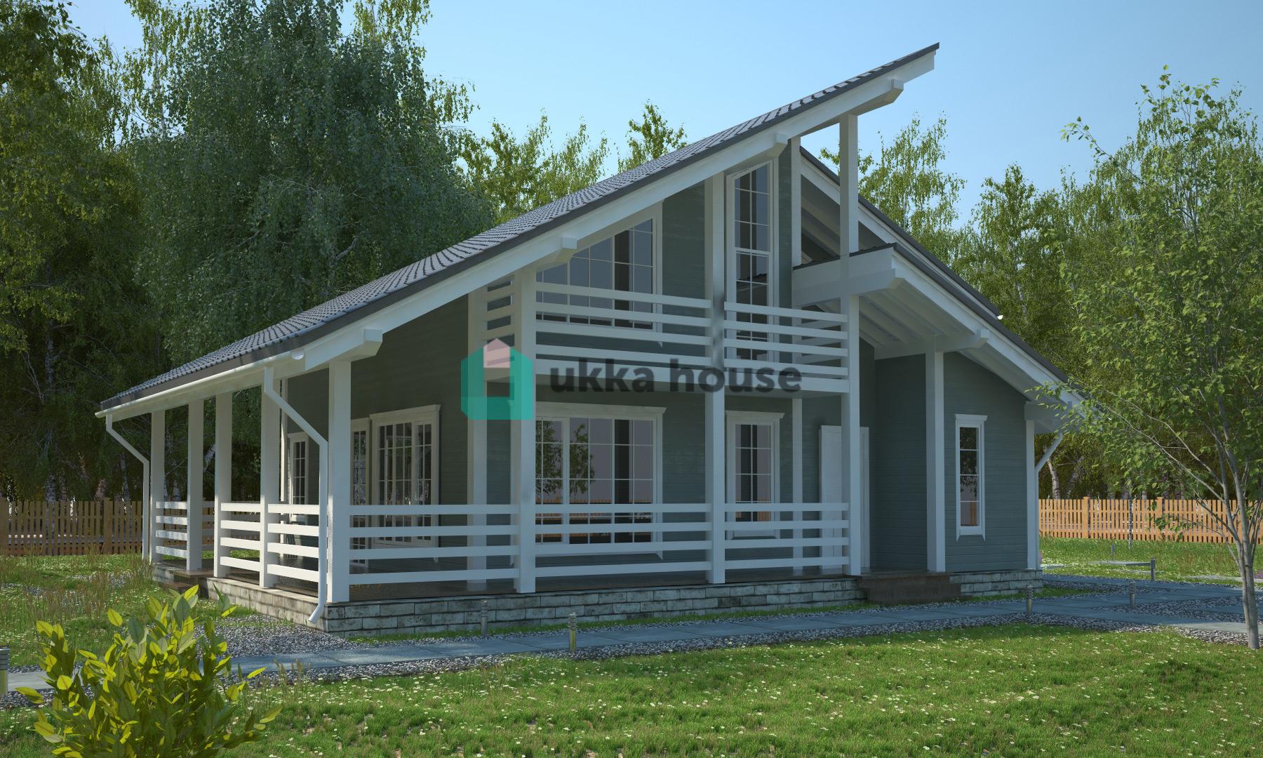 Проект «Олсуфьевъ каркасный дом с большой террасой»