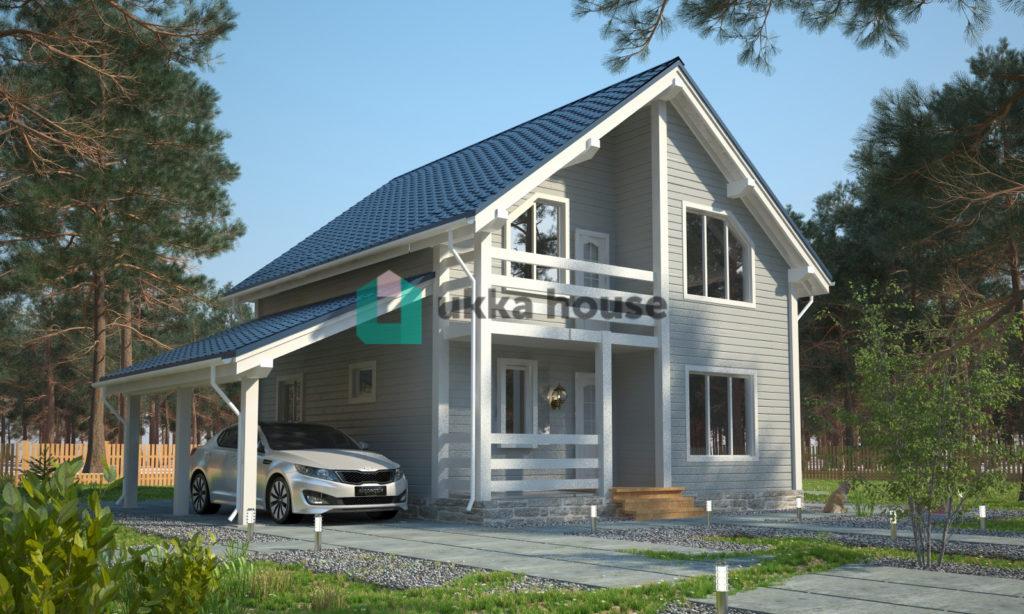 Проект 'Легион'. Каркасный дом с навесом для машины