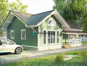 Строительство домов в СПБ и Ленинградской области - Ламсдорф, дом с мансардным окном на фронтоне
