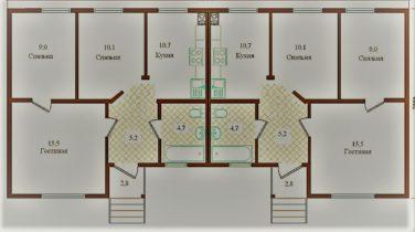 дом-дуплекс, пример планировки