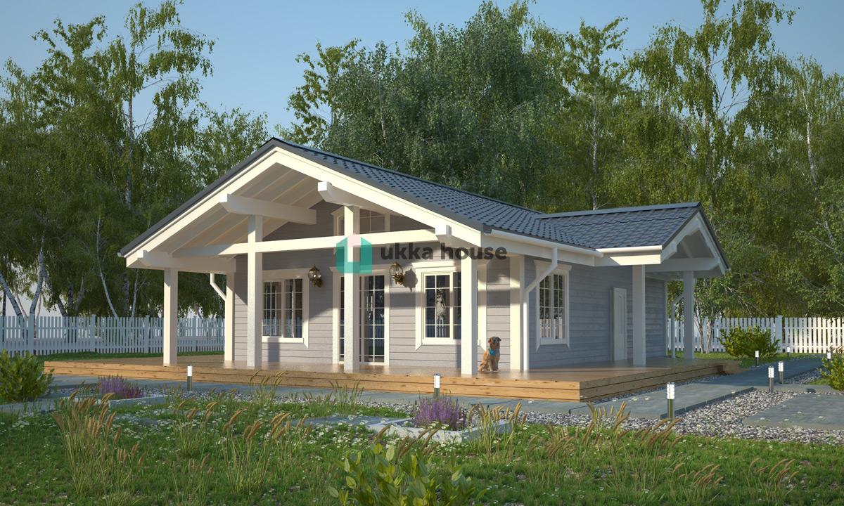 Проект «Одноэтажный дом с большой террасой»
