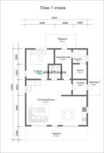 Проект каркасного дома Ридигер - план первого этажа