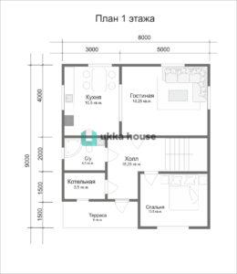 """Каркасный дом """"Легион"""" - план первого этажа"""