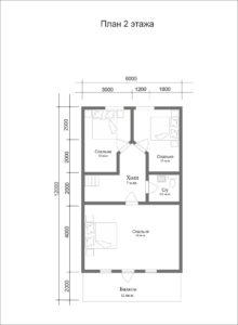 Проект каркасного дома Ридигер - план второго этажа