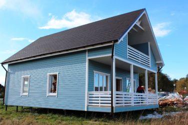 Каркасный дом с террасой по проекту «Ридигер», КП «Правдинское Озеро-2»